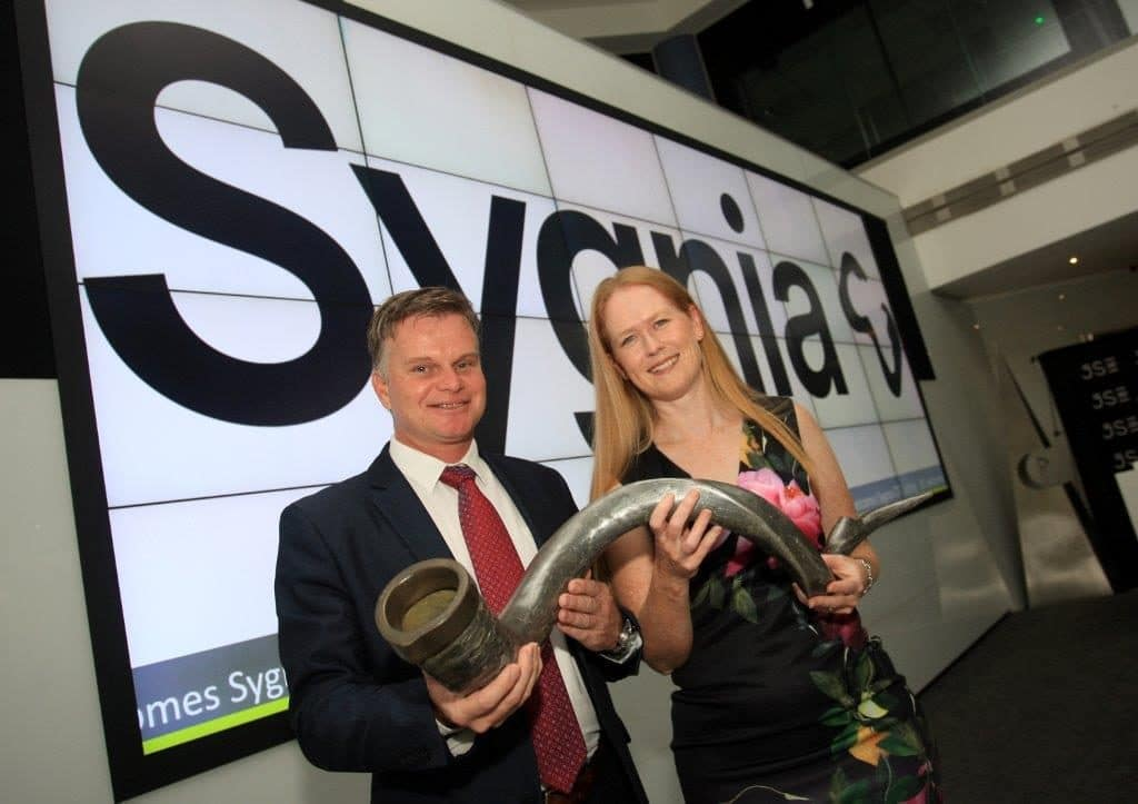 Ben Meyer (Head Sygnia Itrix) and Niki Giles (Sygnia Chief Operating Officer) at the JSE
