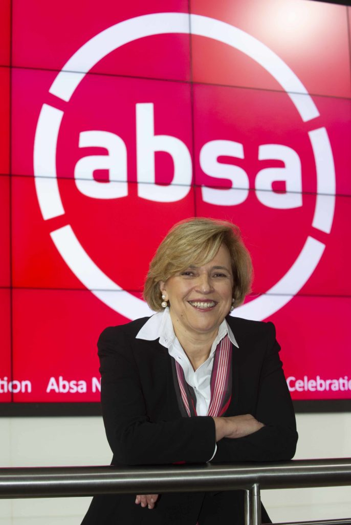 Group Chief Executive Maria Ramos stands in front of the new Absa logo at the JSE on 11 July 2018